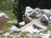 Estany petit de la Pera - Heus aquí un dels habitants de la zona: una marmota. Encara ens dura l'ensurt que ens va donar. Per avisar als seus congèneres de la nostra presència va donar un crit, que encara ressona en les muntanyes. Ens pensàvem que al menys ens caurien pel cap un munt de voltors ...
