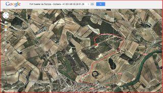 Fort fuseller de Ferriols - Itinerari - Captura de pantalla de Google Maps, complementada amb anotacions manuals.