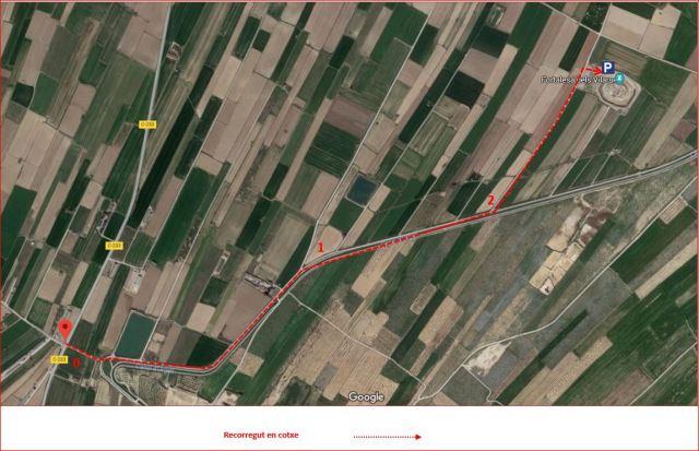 Fortalesa Ibèrica dels Vilars-MAPA Itinerari - Captura de pantalla de Google Maps, complementada amb anotacions manuals