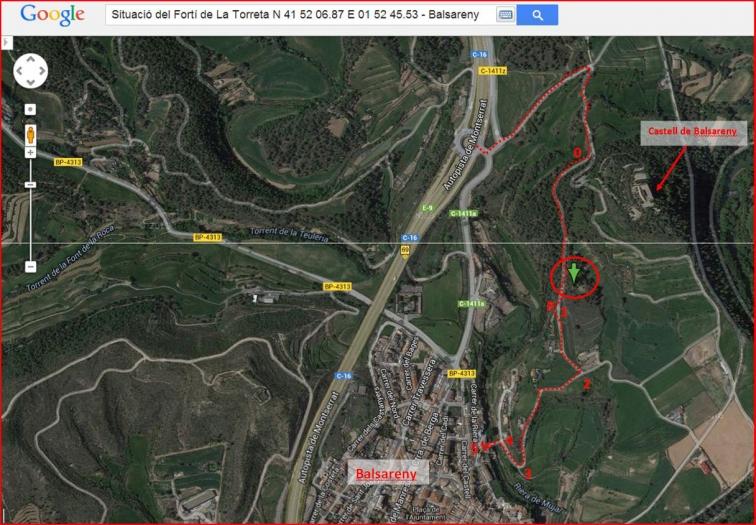 Fortí de La Torreta – Balsareny - Captura de pantalla de Google Maps, complementada amb anotacions manuals.
