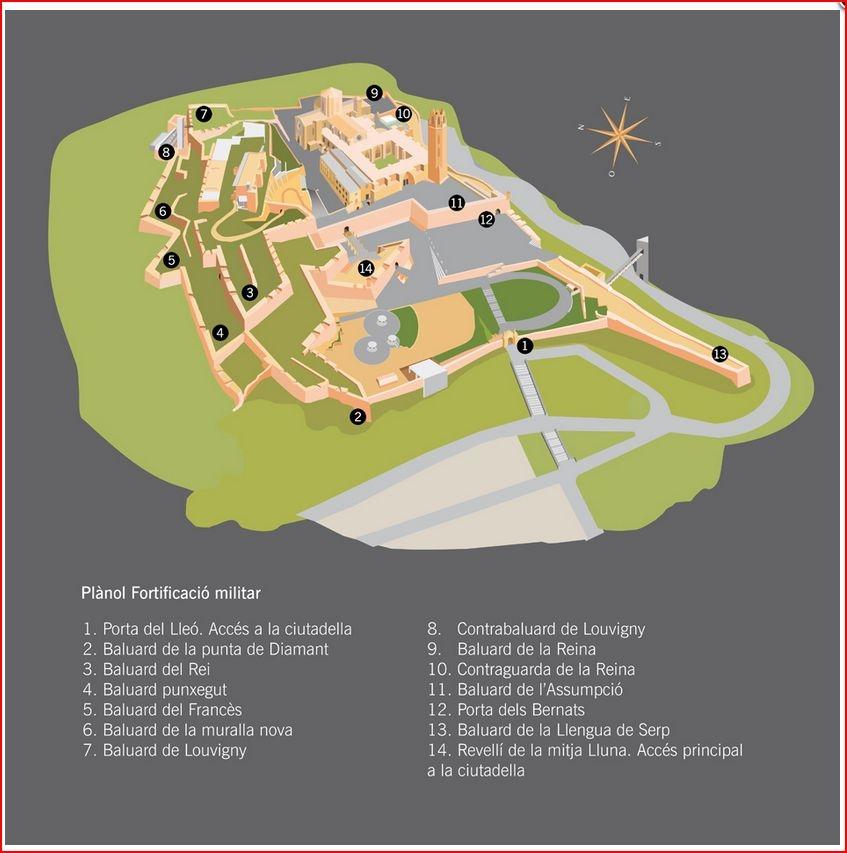 Fortificacions modernes del Turo de la Seu Vella -Lleida -MAPA