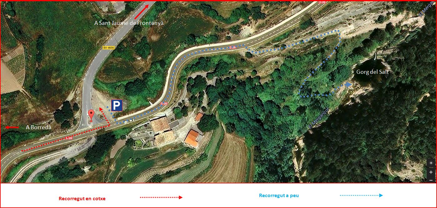 Gorg del Salt - Borredà - Detall itinerari - Captura de pantalla de Google Maps, complementada amb anotacions manuals.
