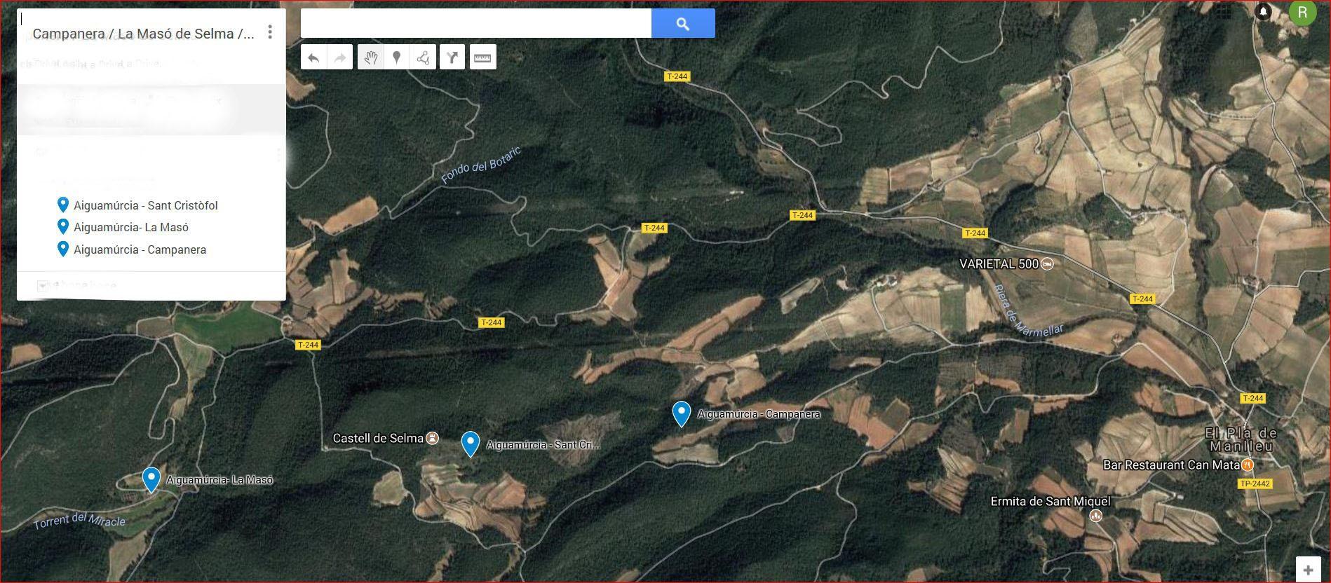 Captura de pantalla d\'un mapa de Google on es pot apreciar la situació de tres edificacions: Casa forta de la Campanera, Sant Cristòfol i La Masó de Selma