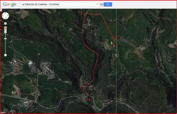 La Pabordia de Caselles - Itinerari - Captura de pantalla d'un mapa de Google Maps, complementada amb anotacions manuals.
