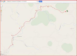 La Torre – Biosca - Itinerari - Captura de pantalla de Google Maps, complementada amb anotacions manuals.