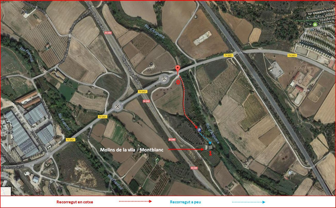 Molins de la Vila – Montblanc - Captura de pantalla de Google Maps, complementada amb anotacions manuals