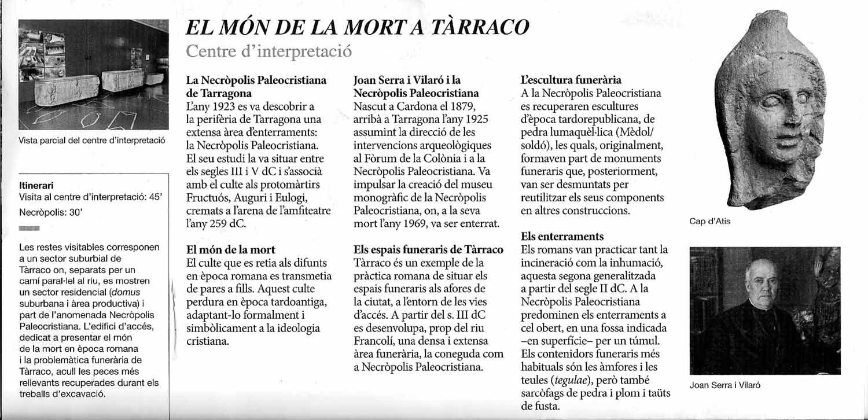 Museu i Necròpolis Paleocristians de Tarragona-Fulletó de mà