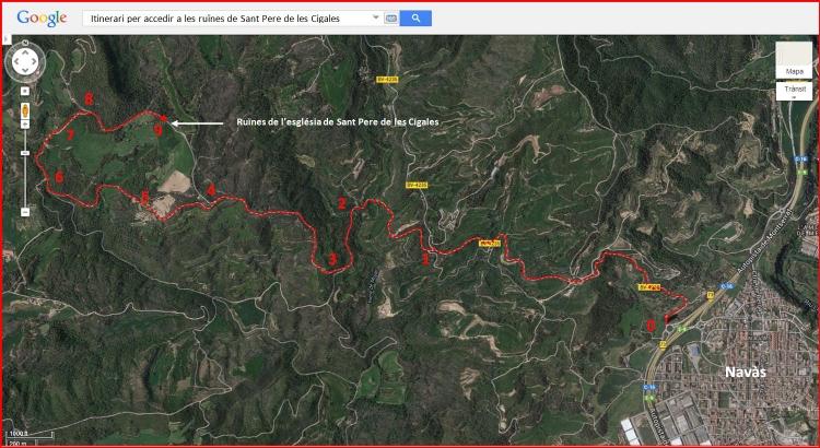 Ruïnes de l'església de Sant Pere de les Cigales – Navàs - Itinerari - Captura de pantalla de Google Maps, complementada amb anotacions manuals.
