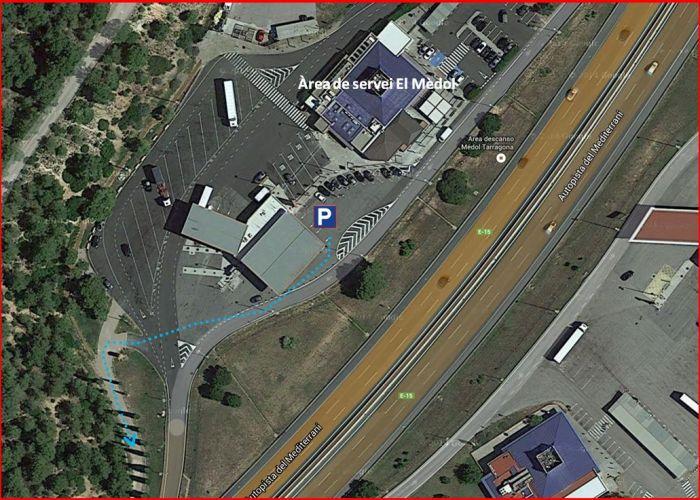 Pedrera del Mèdol – Tarragona - Itinerari - Captura de pantalla de Google Maps, complementada amb anotacions manuals.