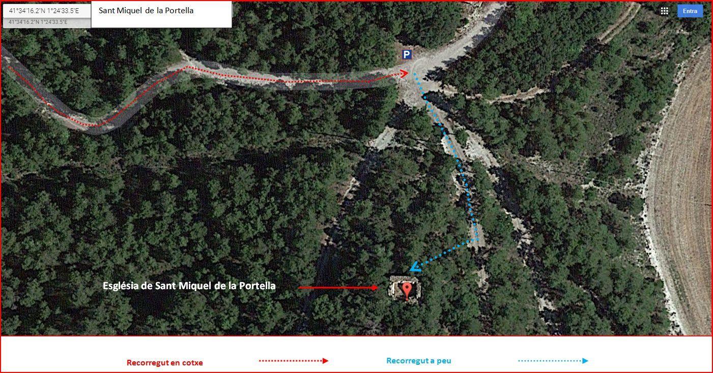 Itinerari d'accés a l'església de Sant Miquel de la Portella - DETALL - Part final - Captura de pantalla de Google Maps, complementada amb anotacions manuals