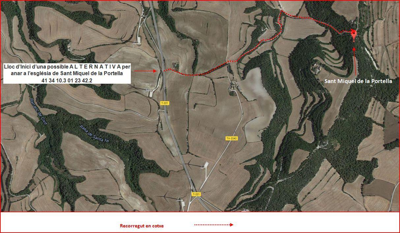 Itinerari d'accés a l'església de Sant Miquel de la Portella - Proposta alternativa - Captura de pantalla de Google Maps, complementada amb anotacions manuals