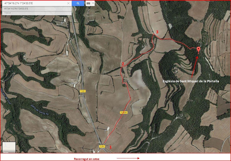 Itinerari d'accés a l'església de Sant Miquel de la Portella - Visió global - Captura de pantalla de Google Maps, complementada amb anotacions manuals