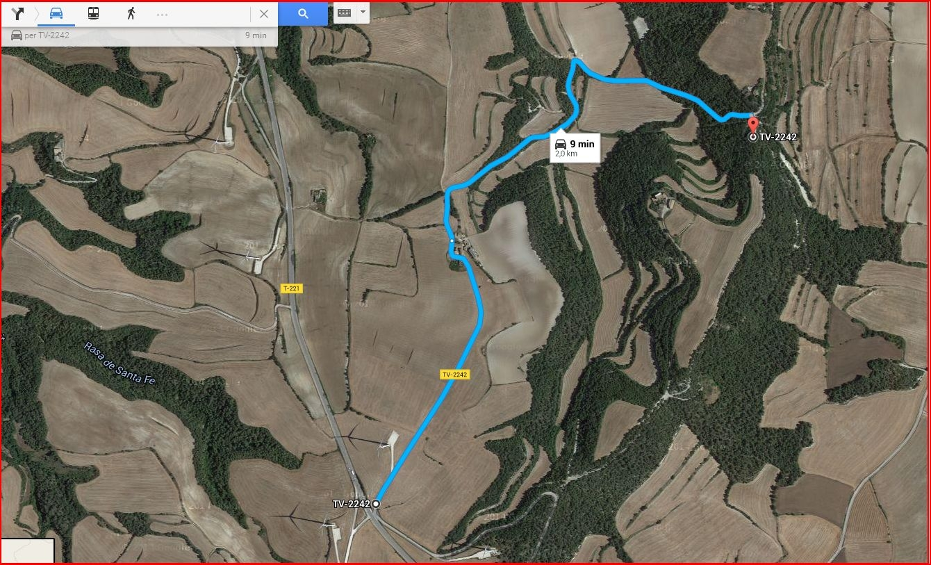 Itinerari d'accés a l'església de Sant Miquel de la Portella - Proposta de Google Maps - Captura de pantalla de Google Maps, complementada amb anotacions manuals