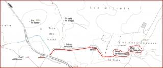 Pleta de Les Pallargues - I - Captura de pantalla d'un mapa de l'Institut Cartogràfic de Catalunya, complementat amb anotacions manuals.