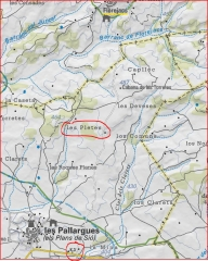 Pleta de Les Pallargues-Captura de pantalla de Mapa de l'Institut Cartogràfic de Catalunya, complementada amb anotacions manuals.