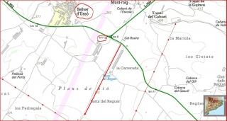 Pletes de Mont-roig - Captura de pantalla de mapa de l'I.C.C complementat amb anotacions manuals.