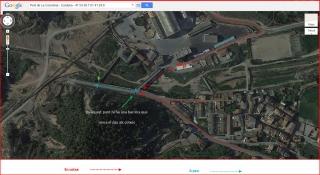 Pont de La Coromina - Cardona - Itinerari - Captura de pantalla de Google Maps, complementada amb anotacions manuals.