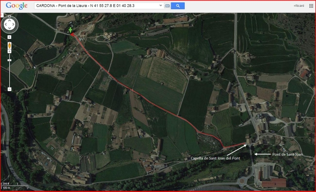 Pont de La Lleura – Cardona - Itinerari - Captura de pantalla de Google Maps, complementada amb anotacions manuals.
