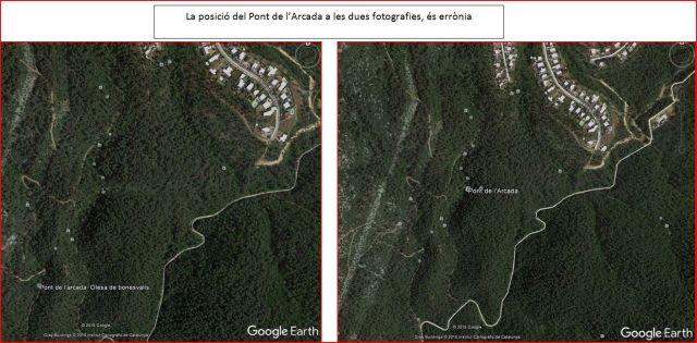 Pont de l'Arcada – Olesa de Bonesvalls - Captura de pantalla de Google Earth. Les dues posicions assenyalades, són errònies