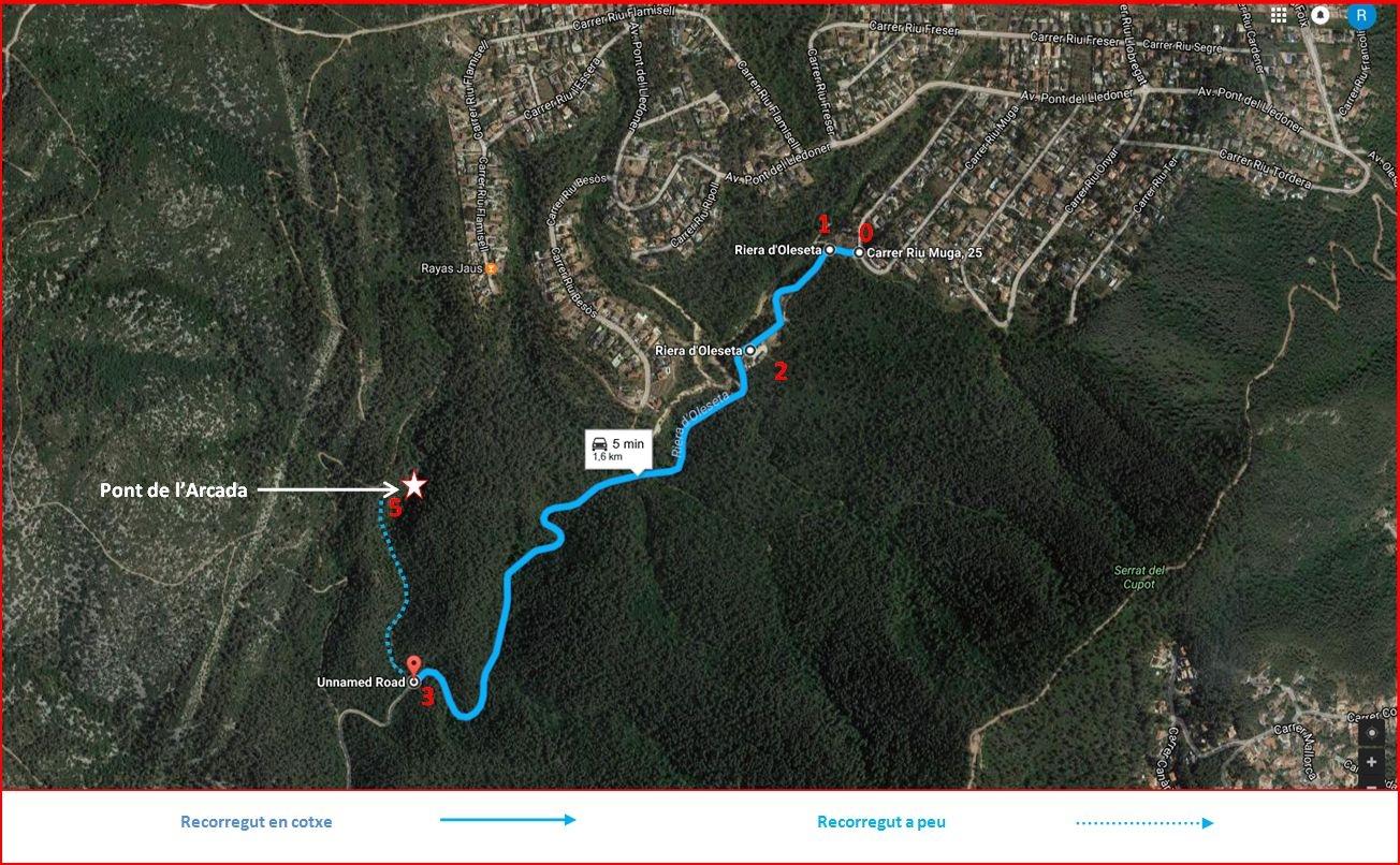 Pont de l'Arcada – Olesa de Bonesvalls - Captura de pantalla de Google Maps, complementada amb anotacions manuals