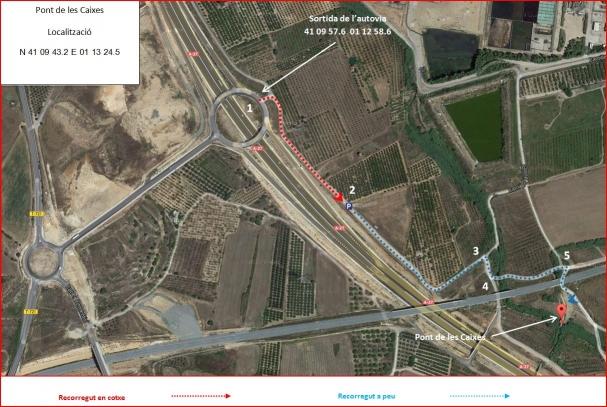 Pont de les Caixes – Constantí - Captura de pantalla de Google Maps, complementada amb anotacions manuals