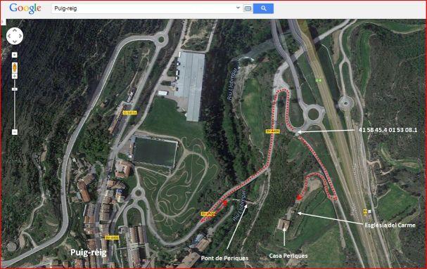Puig-reig - MAPA - Situació i mode d'accés de diverses edificacions. Captura de pantalla de Google Maps, complementada amb anotacions manuals.