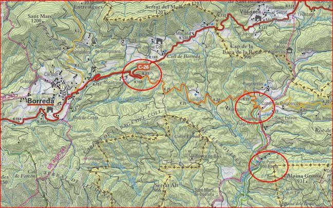 Pont de Roma-Itinerari - Captura de pantalla d'un mapa de l.C.C. , complementada amb anotacions manuals.