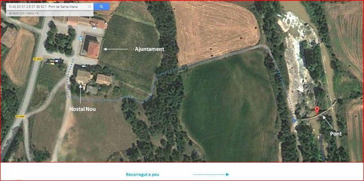 Pont de Santa Maria de Merles-Captura de pantalla de Google Maps, complementada amb anotacions manuals.