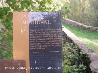 Pont de Vallfogona – Vallfogona de Ripollès - Cartell informatiu.
