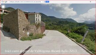 Pont de Vallfogona - Vallfogona de Ripollès - Punt d'inici de l'itinerari - Captura de pantalla de Google Maps.