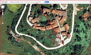 Pont de Vallfogona - Vallfogona de Ripollès - Punt d'inici de l'itinerari - Captura de pantalla de Google Maps, complementada amb anotacions manuals.