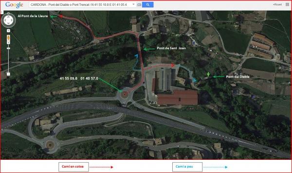 Cardona - Itinerari per anar al Pont del Diable o Pont trencal, al Pont de Sant Joan i al Pont de la Lleura - Captura de pantalla de Google Maps, complementada amb anotacions manuals.