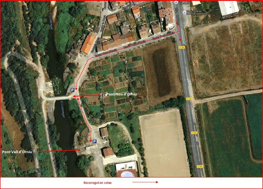 Pont d'Orniu – Avià - Itinerari Final - Mapa de Google Maps, complementat amb anotacions manuals