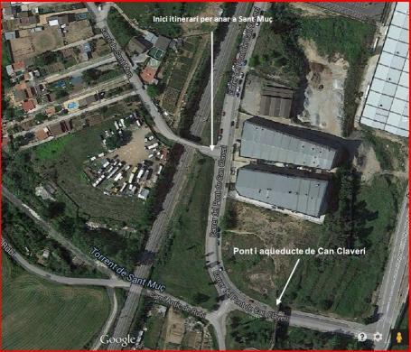 Pont i aqüeducte de Can Claverí – Rubí - Captura de pantalla de Google Maps, complementada amb anotacions manuals.