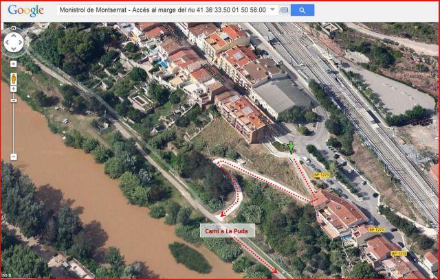 Monistrol de Montserrat - Accés al passeig fluvial que permet l'inici del recorregut fins a la Puda - Captura de pantalla de Google Maps, complementada amb anotacions manuals.