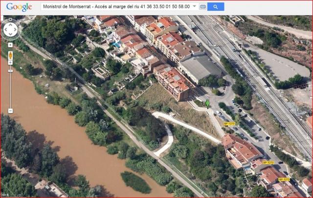 Monistrol de Montserrat - Accés al passeig fluvial - Captura de pantalla de Google Maps, complementada amb anotacions manuals.