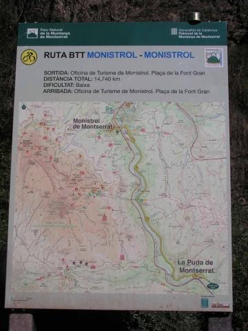 Monistrol de Montserrat - Ruta a La Puda - Cartell informatiu que hem trobat vora aquest darrer lloc.