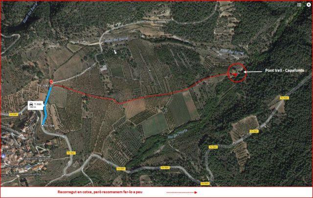 Pont Vell-Capafonts - Itinerari - Des del punt (1) fins el final - Captura de pantalla de Google Maps, complementada amb anotacions manuals