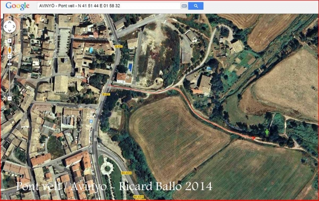 Pont vell d'Avinyó – Avinyó - Itinerari - Captura de pantalla de Google Maps, complementada amb anotacions manuals.