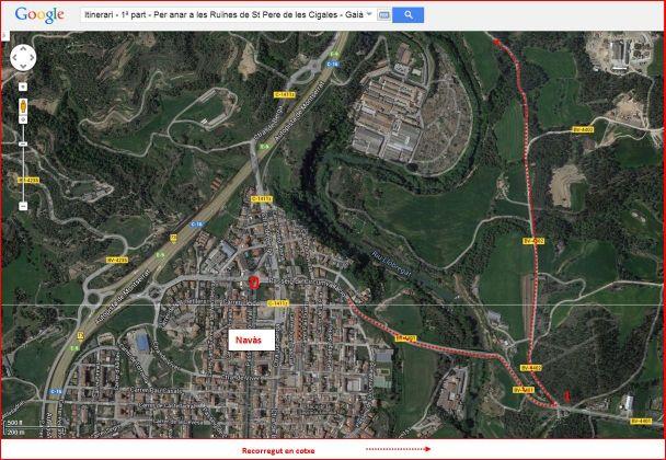 Ruïnes de l'església de Sant Pere de les Cigales – Gaià - Itinerari - 1ª part - Captura de pantalla de Google Maps, complementada amb anotacions manuals.