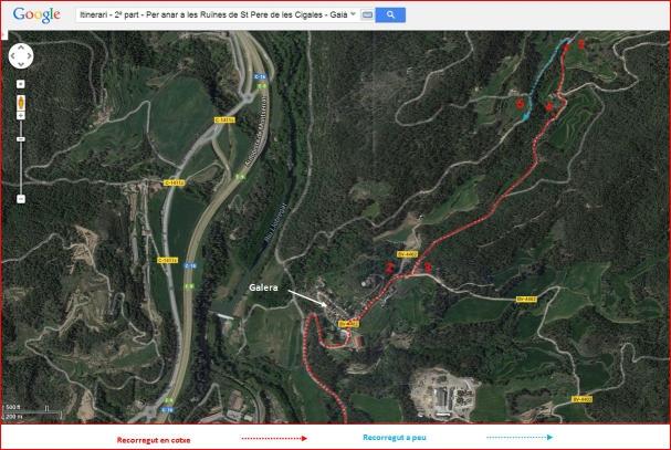 Ruïnes de l'església de Sant Pere de les Cigales – Gaià - Itinerari - 2ª part - Captura de pantalla de Google Maps, complementada amb anotacions manuals.