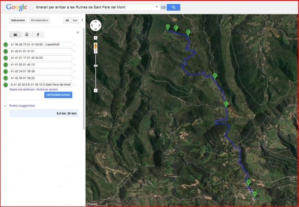 Ruïnes de Sant Pere del Mont - Castellfollit del Boix - Itinerari - Captura de pantalla de Google Maps, complementada amb anotacions manuals.