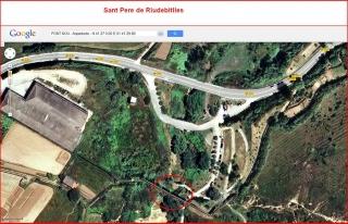 Sant Pere de Riudebitlles-Pont Nou-Situació-Captura de pantalla de Google Maps, complementada amb anotacions manuals