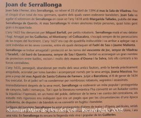 Santuari de la Mare de Déu del Coll – Osor - Informació sobre en Joan de Serrallonga. Fotografia d'un plafó informatiu que trobarem en aquest lloc.