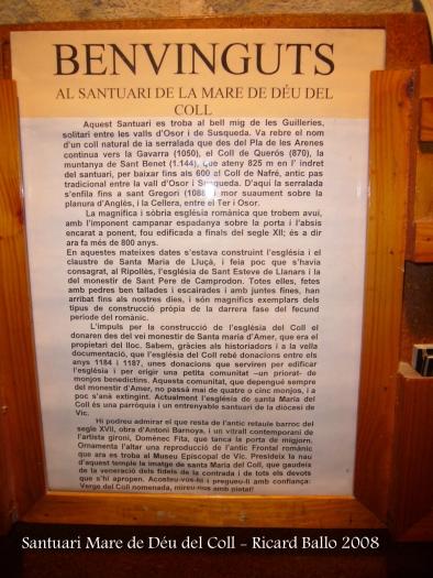 Santuari de la Mare de Déu del Coll – Osor - Plafó informatiu.