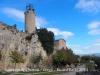 Santuari de Queralt - Berga - En primer terme, el campanar d'època moderna.