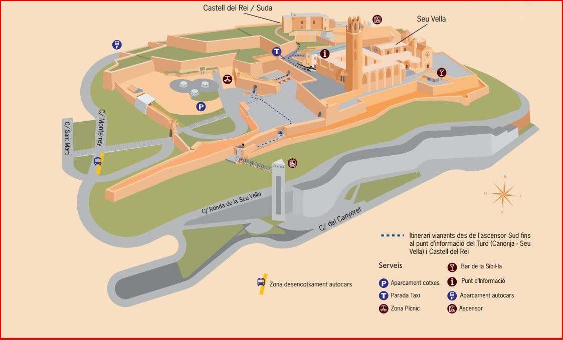 Turo de la Seu Vella - Mapa obtingut de la pàgina web http://www.turoseuvella.cat/fitxers/acces-al-turo
