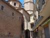 Tàrrega 2015 - Al fons la torre del campanar de l'església de Santa Maria de l'Alba