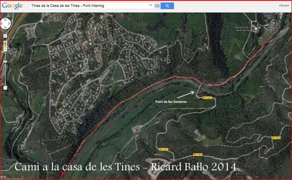 Camí a les Tines de la casa de les tines - Talamanca / Itinerari intermig - Captura de pantalla de Google Maps, complementada amb anotacions manuals