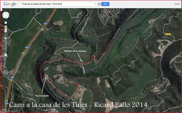 Camí a les Tines de la casa de les tines - Talamanca / Itinerari final - Captura de pantalla de Google Maps, complementada amb anotacions manuals